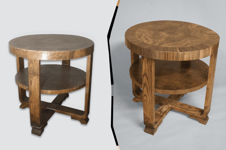 Pähklispooniga laud enne ja pärast restaureerimist